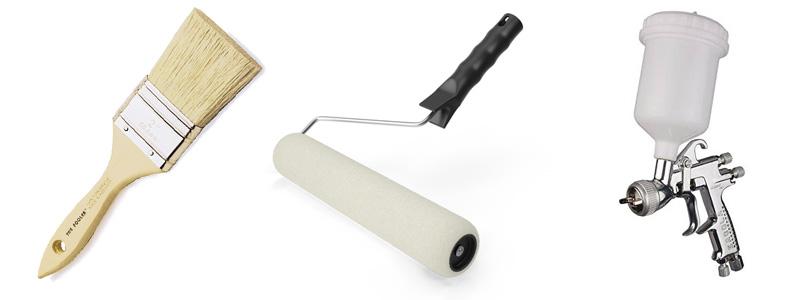 A gumi festéket az alábbi eszközökkel lehet felvinni: